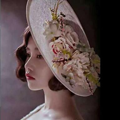 여성 플랙스 패브릭 투구-웨딩 특별한날 야외 모자 1개
