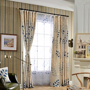 Propp Topp Dobbelt Plissert Et panel Window Treatment Moderne, Trykk Soverom Lin/Bomull Blanding Materiale gardiner gardiner Hjem Dekor