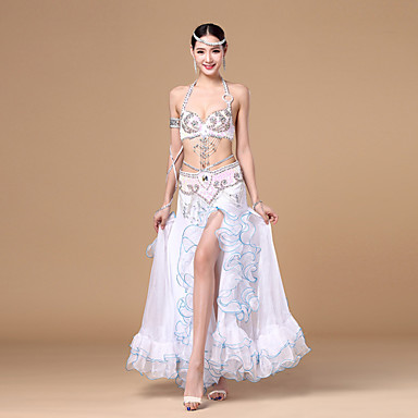 Belly Dance Outfits Women's Performance Polyester Sequin / Sashes / Ribbons / Ruffles Sleeveless Dropped Skirt / Bra / Belt