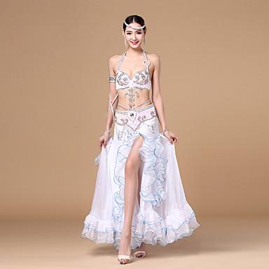 Göbek Dansı Kıyafetler Kadın's Performans Polyester Fırfırlı Kuşak/kurdele 3 Parça Kolsuz Düşük Etek Sütyen Kemer