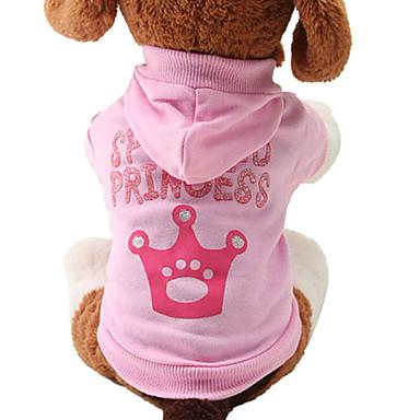 Katze Hund Kapuzenshirts Hundekleidung Tiaras & Kronen Rosa Baumwolle Kostüm Für Haustiere Damen Niedlich Modisch