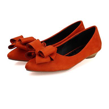 Mulheres Sapatos Veludo Primavera Verão Outono Inverno Bailarina Salto Baixo Laço para Casual Escritório e Carreira Social Preto Amarelo