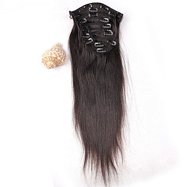 Hot Sale Peruvian Hair Clip In Extension Human Hair Weave Extension Silky Straight 8Pcs/ Set 100g Extension