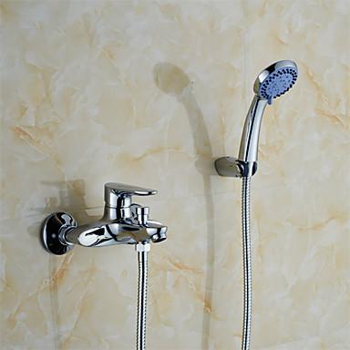 콘템포라리 벽내장 핸드샤워 포함 도자기 발브 홀 두개 싱글 핸들 두 구멍 크롬, 욕실 싱크 수도꼭지