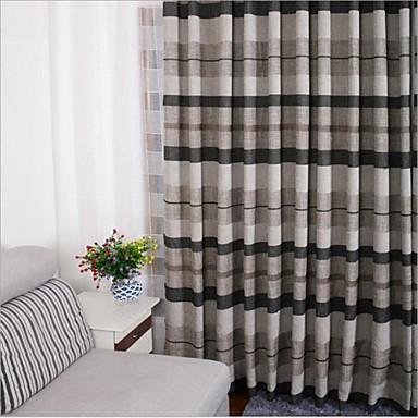 Dois Painéis Tratamento janela Europeu , Riscas Quarto Mistura de Linho e Poliéster Material Cortinas cortinas Decoração para casa For