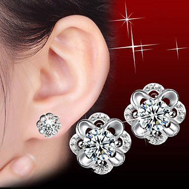עגילים צמודים אבני מזלות כסף סטרלינג זירקון Flower Shape תכשיטים ל חתונה Party יומי קזו'אל ספורט 1pc