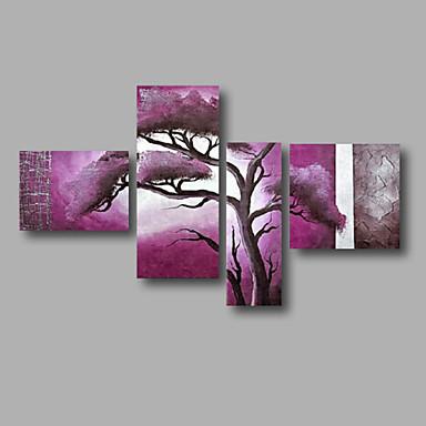 Ručno oslikana Sažetak Pejzaž Apstraktni pejsaži bilo koji oblik,Moderna Četiri plohe Platno Hang oslikana uljanim bojama For Početna