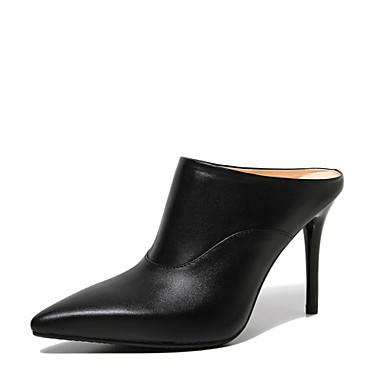 샌달 - 드레스 / 캐쥬얼 / 파티/이브닝 - 여성의 신발 - 슬링백 - 가죽 - 스틸레토 굽 - 블랙 / 화이트