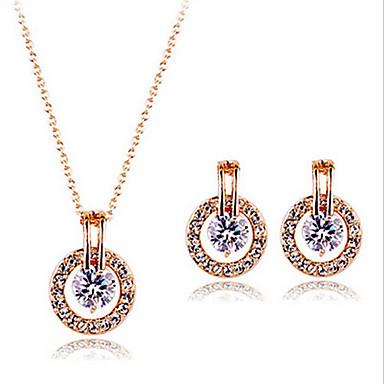Damen Schmuckset Zirkon Kubikzirkonia Rose Gold überzogen Niedlich Party Büro Ohrringe Halsketten Modeschmuck