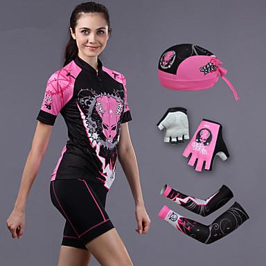 cheji® Pyöräily jersey ja shortsit Naisten Lyhyt hiha Pyörä Shortsit Hatut Hihat Jersey VaatesetitNopea kuivuminen Ultraviolettisäteilyn