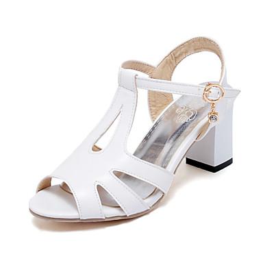 Sandaalit-Leveä korko-Naisten kengät-Tekonahka-Musta / Valkoinen-Puku-Avokärkiset