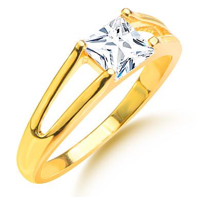 בגדי ריקוד גברים זירקון / ציפוי זהב / יהלום מדומה טבעות לזוג - ריבוע / Geometric Shape זהב טַבַּעַת עבור חתונה / Party / יומי