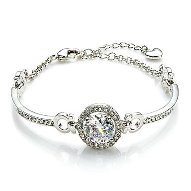 Kadın's Kristal Zincir & Halka Bileklikler - Kristal Aşk Eşsiz Tasarım, Moda Bilezikler Gümüş / Altın Uyumluluk Düğün / Parti / Günlük