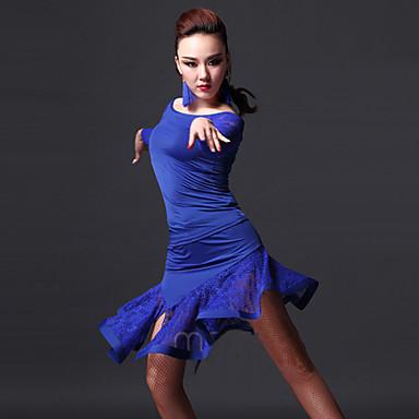 Latin Dansı Kıyafetler Kadın's Performans Splandeks Dantelalar Dantel Top Etek