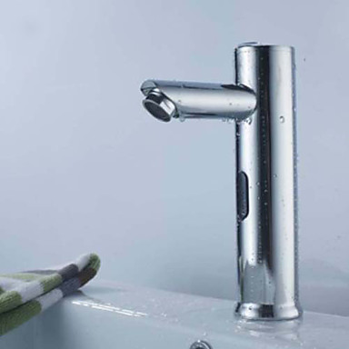 Nykyaikainen Integroitu Touch/Touchless Keraaminen venttiili Yksi reikä Hands free yksi reikä Kromi, Kylpyhuone Sink hana