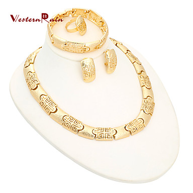 WesternRain Top Quality Classic Women Necklace Jewelry Set African Gold Plated Charming Chunky Costume Jewelry Sets