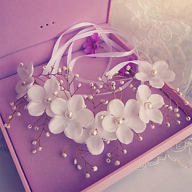 Žene Prodavačica cvijeća Legura Imitacija Pearl Svila Glava-Vjenčanje Special Occasion Trake za kosu Cvijeće 1 komad