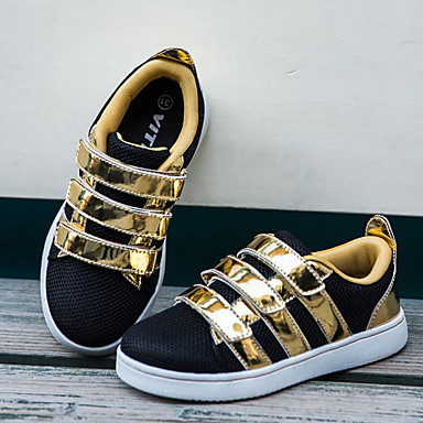 Jungen / Mädchen Schuhe Tüll / Kunstleder Frühling Komfort / Knöchelriemen Sneakers Kombination / Klett für Rosa / Silber / Gold