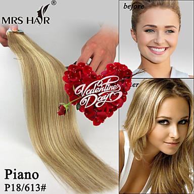 voordelige Extensions van echt haar-Tape-in Extensions van echt haar Recht Echt haar Zwart / Bleach Blonde
