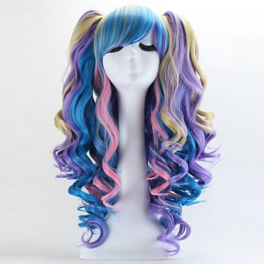 Lolita Peruukit Gothic Lolita Söpö Lolita Vaaleanpunainen Color Gradient Lolita Peruukit 70 CM Cosplay-Peruukit Patchwork Peruukki