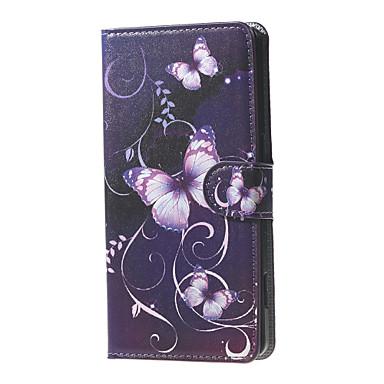 violetti perhosia ja viiniköynnösten kuvio lompakko nahka läppä jalustan tapauksessa korttipaikka Microsoft Lumia 650