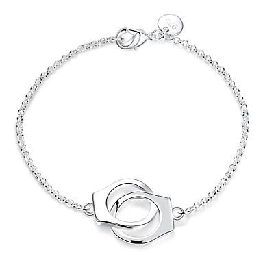 abordables Bracelet-Chaînes Bracelets Breloque Charms Bracelet Femme Noué Double Menottes Argent sterling Médaillon dames Mode Bracelet Bijoux Argent pour Mariage Soirée