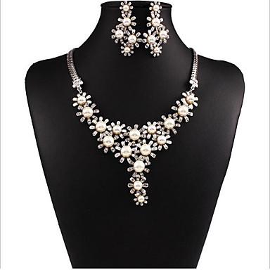 Damen Schmuck-Set Schmuckset - Perle, Diamantimitate Weiß, Silber