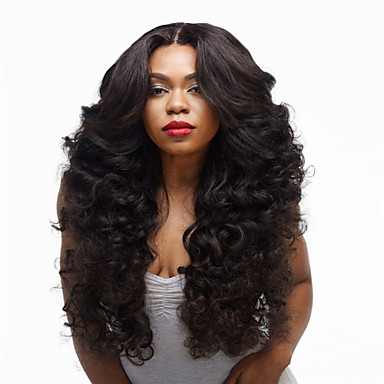 Synteettiset peruukit Kihara Synteettiset hiukset Musta Peruukki Naisten Pitkä Suojuksettomat
