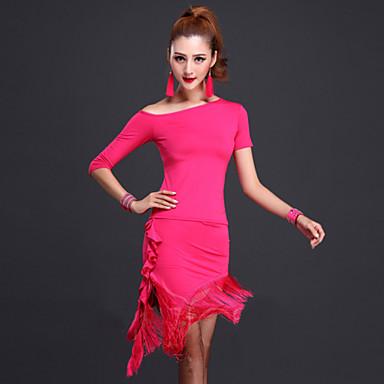ריקוד לטיני תלבושות בגדי ריקוד נשים ביצועים מילק פייבר 2 חלקים עליון חצאית