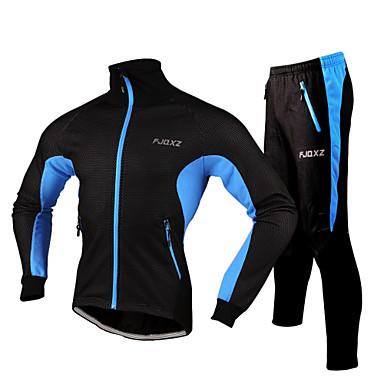 FJQXZ Jaqueta com Calça para Ciclismo Homens Moto Moletom Jaqueta Conjuntos de Roupas Inverno Tosão Roupa de Ciclismo Prova-de-Água Á