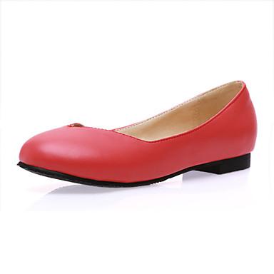 Mulheres Sapatos Couro Ecológico Primavera Outono Solados com Luzes Rasos Aventura Sem Salto Ponta Redonda para Casual Escritório e