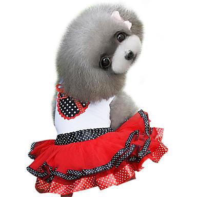 Pas Haljine Odjeća za psa Moda Na točkice Crvena Crvena Kostim Za kućne ljubimce
