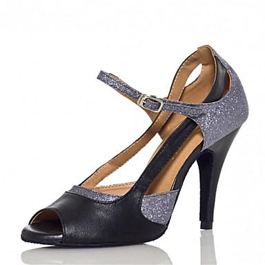 Kadın's Latin Dans Ayakkabıları / Salsa Ayakkabıları / Samba Ayakkabıları Yapay Deri Sandaletler / Topuklular Payet / Toka Kişiye Özel Kişiselleştirilmiş Dans Ayakkabıları Gümüş / İç Mekan / Egzersiz
