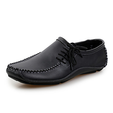 Men's Shoes Leather Winter Spring Summer Fall Comfort Loafers & Slip-Ons Walking Shoes Lace-up for Casual Black Gray Brown