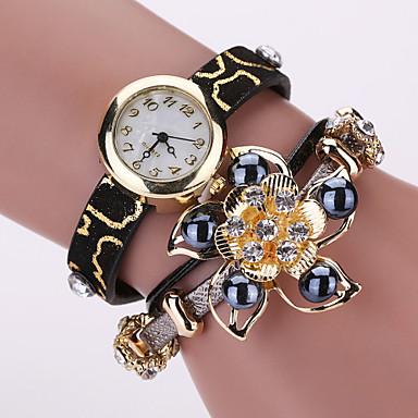 Mulheres Relógio de Moda Bracele Relógio Quartzo PU Banda Brilhante Flor Pérolas Preta Branco Vermelho Amarelo Rose