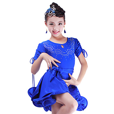 Dança Latina Vestidos Crianças Actuação Elastano 1 Peça Vestido