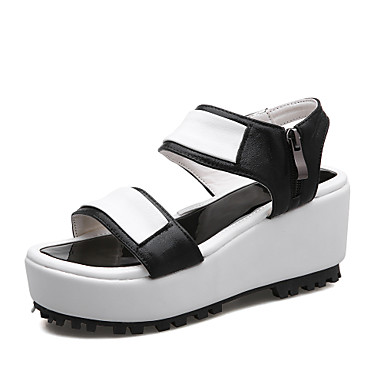 7e1dee9a0d3 Women s Shoes PU(Polyurethane) Summer Creepers   Comfort Sandals Walking  Shoes Wedge Heel Open Toe Buckle Black   Silver