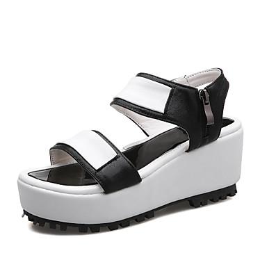 Mulheres Sapatos Couro Ecológico Verão Creepers / Conforto Sandálias Caminhada Salto Plataforma Dedo Aberto Presilha Preto / Prata