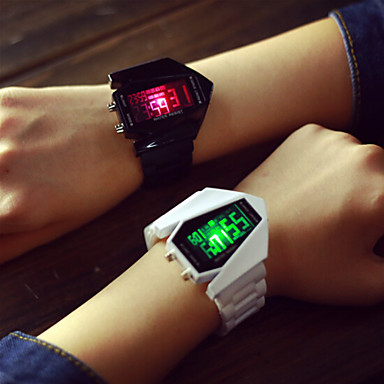 Men's Women's Couple's Sport Watch Digital LED Silicone Band Charm Silver