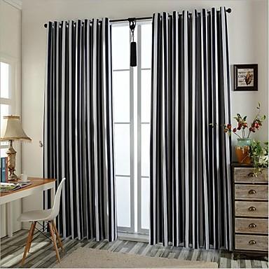 Dois Painéis Tratamento janela Europeu , Riscas Quarto Poliéster Material Cortinas Blackout Decoração para casa For Janela