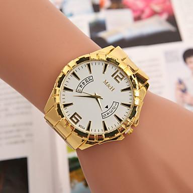 לנשים שעוני אופנה קווארץ סגסוגת להקה זהב לבן שחור צהוב