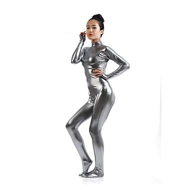 Zentai Anzüge Ninja Zentai Kostüme Cosplay Kostüme Grau Solide Gymnastikanzug / Einteiler Zentai Kostüme Elasthan Glänzend Metallisch