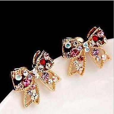 Niittikorvakorut ylellisyyttä koruja Gemstone Cubic Zirkonia jäljitelmä Diamond Metalliseos Bowknot Shape Cross Shape Kulta Sateenkaari