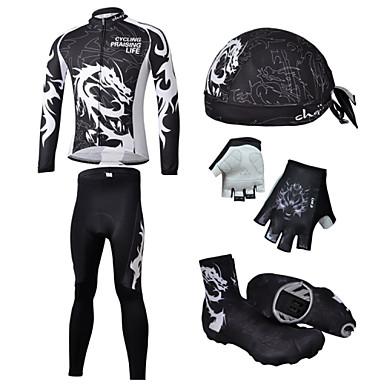 Biciklistička majica s tajicama Muškarci Dugih rukava Bicikl Biciklistička majica Rukavi Navlake za cipele Kompleti odjeće Quick dry