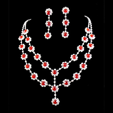 Conjunto de jóias Mulheres Aniversário / Casamento / Noivado / Presente / Festa / Ocasião Especial Conjuntos de Joalharia Liga Strass