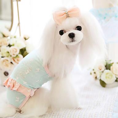 Hund Overall Hundekleidung Modisch Blau Rosa Kostüm Für Haustiere