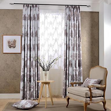 2 paneeli Modernit Kukka-aihe / Kasvitieteellinen Purppura / Kahvi Makuuhuone Polyesteri Pimennysvuoritus Drapes