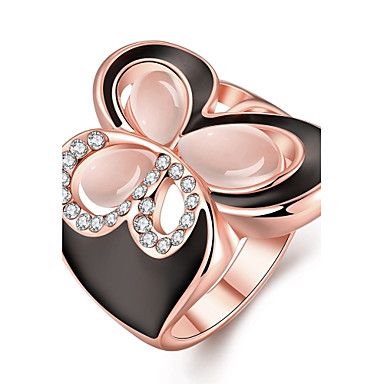 Dame Smykker Ring - Gullbelagt, Gullplatert rose, Opal Sommerfugl Dyr, Uendelighet Gull, Rose