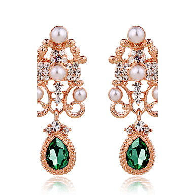 Damen Tropfen-Ohrringe Luxus Hyperbel Modisch Perle Strass Aleación Schmuck Hochzeit Party Alltag Normal Modeschmuck
