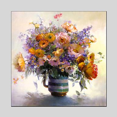 Hang malte oljemaleri Håndmalte - Blomstret / Botanisk Moderne Lerret / Stretched Canvas